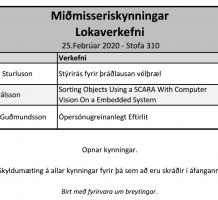 Miðmisseriskynningar hjá lokaverkefnisnemendum þann 25. febrúar 2020